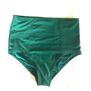 NWT Old Navy High Waist Green Retro Swim bottom M